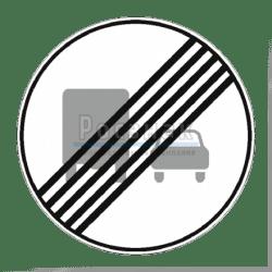 3.23 Конец зоны запрещения обгона грузовым автомобилям.